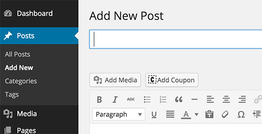 Adding coupons into WordPress posts