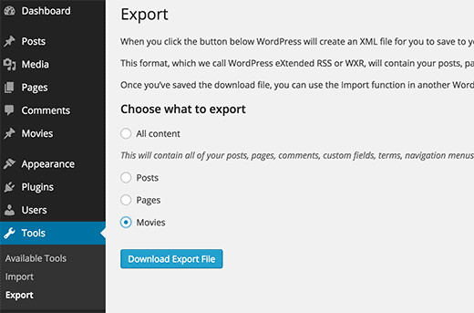 Exporting custom post type in an XML file using WordPress built in export tool