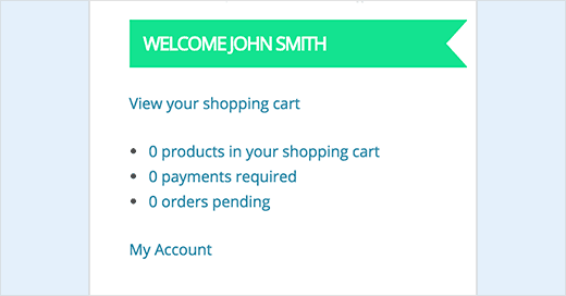 My Account Widget for WooCommerce