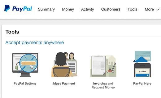 Tombol PayPal di bawah bagian alat