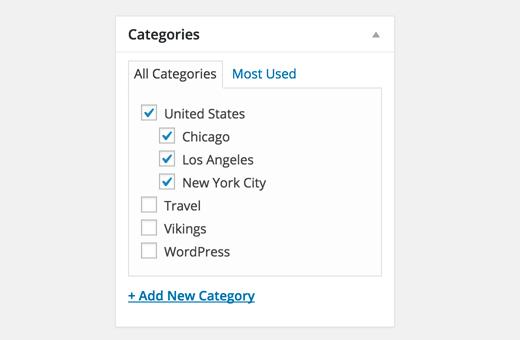 Danh mục con và cha mẹ trong WordPress