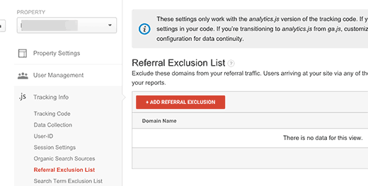 Add domains to your referral exclusion list