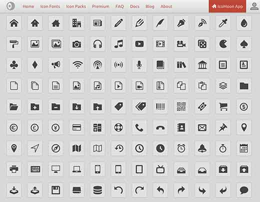 Icomoon's free icon fonts preview