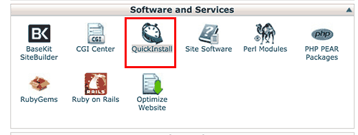 QuickInstall in cPanel dashboard