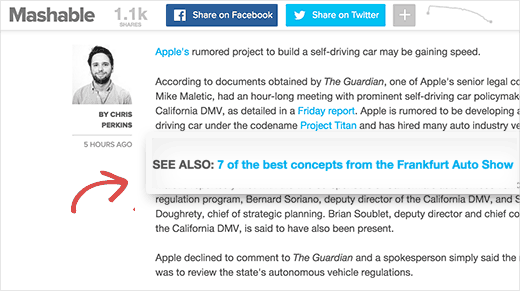 Inline related links displayed on Mashable