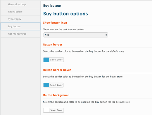 Buy button settings