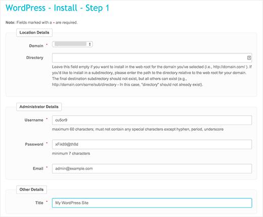 Fantastico WordPress installation settings