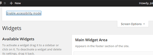 Turn on accessibility mode for widgets in WordPress