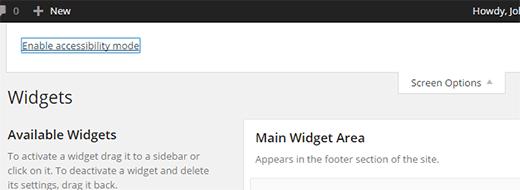 Aktifkan mode aksesibilitas untuk widget di WordPress