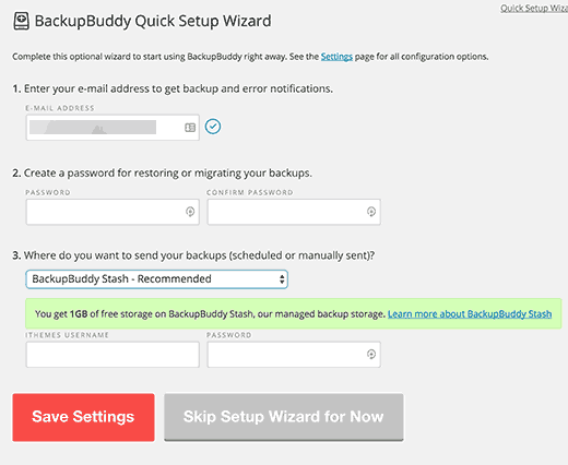 BackupBuddy quick setup wizard