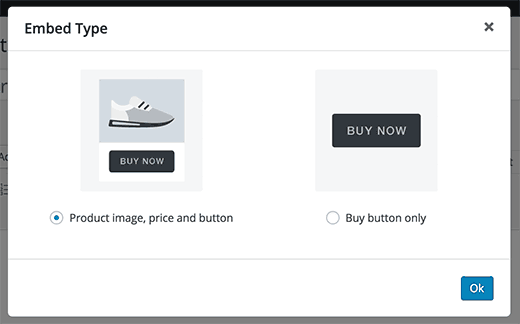 Select an embed type