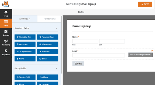 Editing a form in WPForms