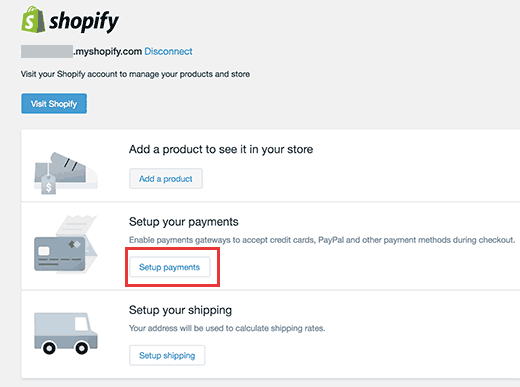 Open payment setup in Shopify for WordPress