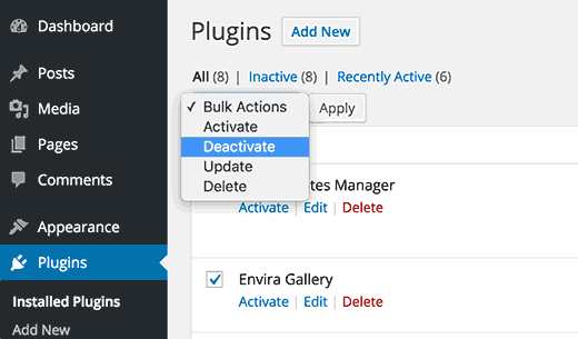 Deactivate all plugins in WordPress