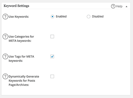 Keyword settings in All in One SEO Pack