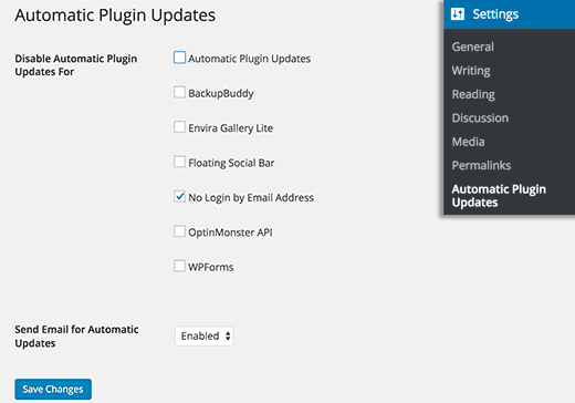 Exclude plugins from automatic update