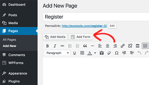 Adding a form in WordPress posts or page