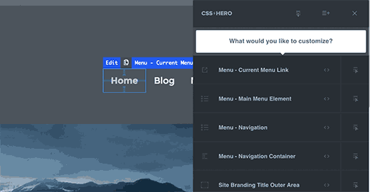 Point and click your navigation menu in CSS Hero
