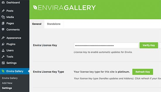 Enter Envira Gallery license key
