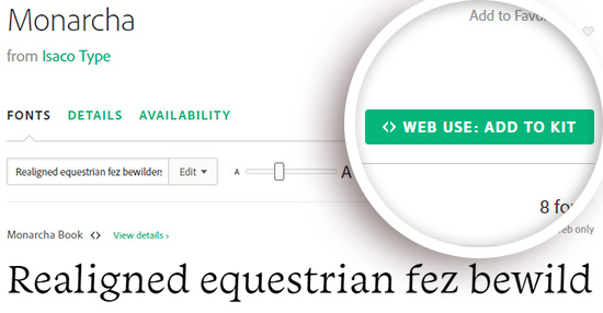 add a typekit font to your web kit