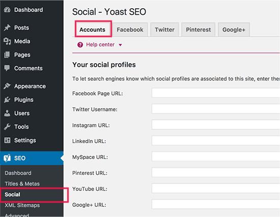 Add your social media accounts