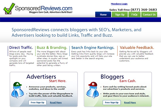 you can make money online selling sponsored reviews