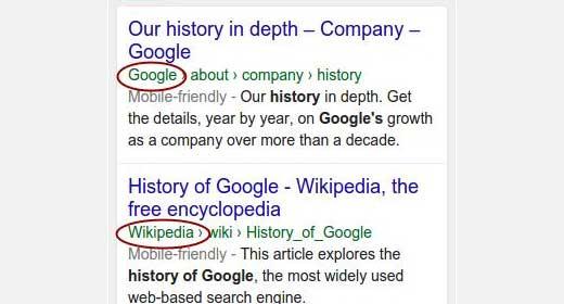 Nama perusahaan di hasil pencarian