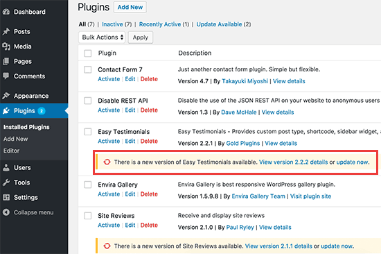 Updates highlighted on the plugins page
