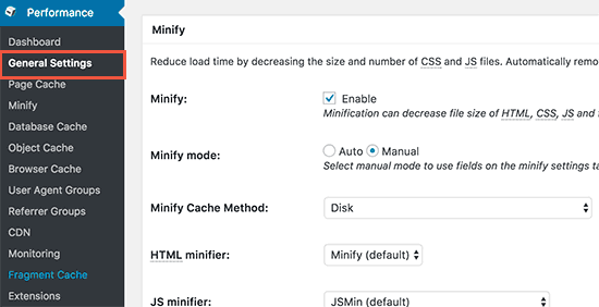 W3 Total Cache enable minify