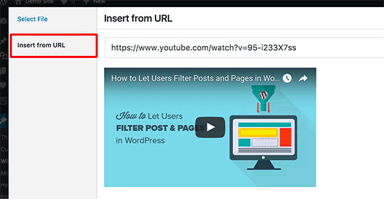 Insert your video URL
