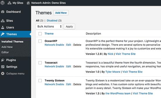 Инсталирани теми на вашата многостранна мрежа на WordPress