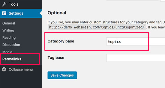 Changing category base prefix in permalink settings