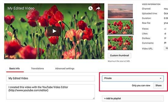Pengaturan privasi video YouTube