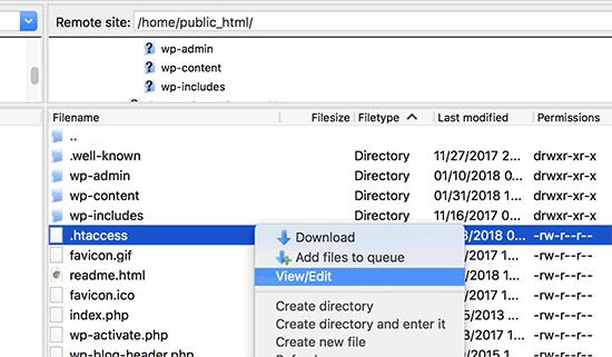 Editing .htaccess file in WordPress