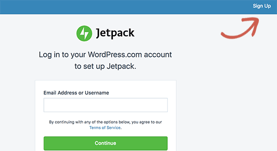Login or sign up for a WordPress.com account