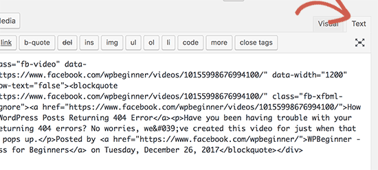 Switch to text editor to paste video embed code