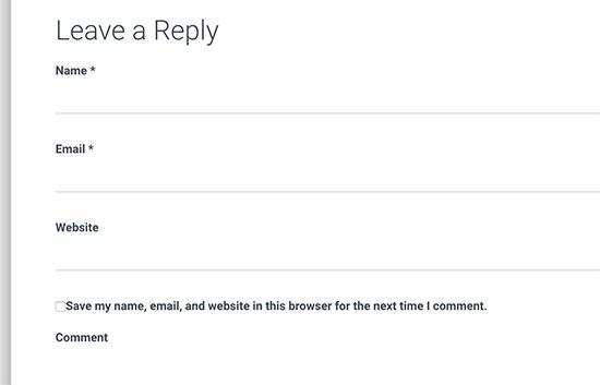 Default WordPress comment form