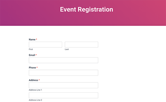 Event registration form preview