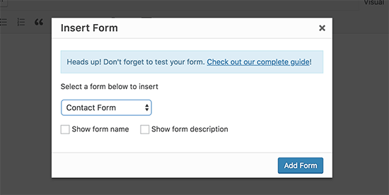 Select and insert form in a WordPress post or page