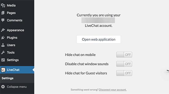 LiveChat WordPress settings