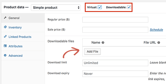 Adding a downloadable product in WooCommerce