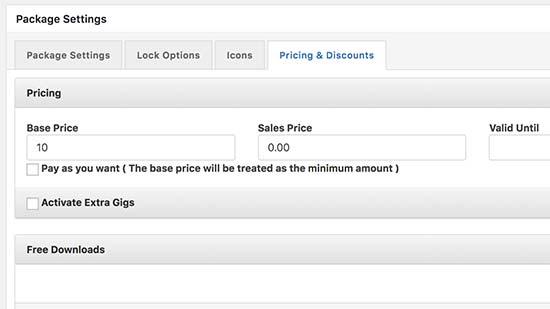Set pricing options