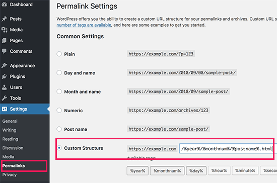 Setting up permalinks