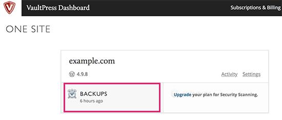 VaultPress dashboard backups