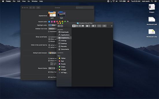Dark mode in macOS