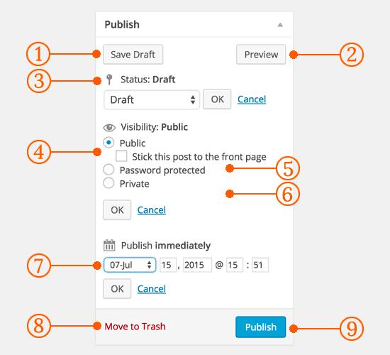 Опубликуйте параметры публикации в классическом редакторе