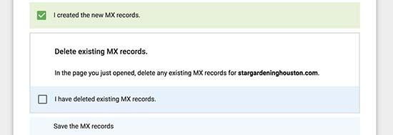 MX records created