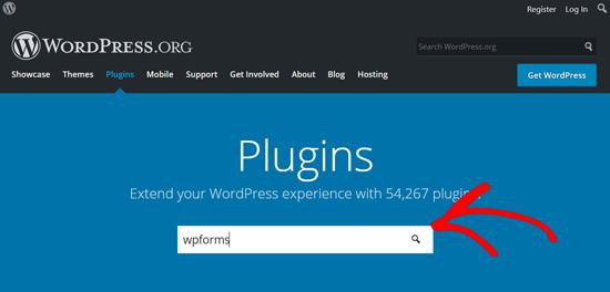 Поиск плагина WPForms в WordPress.org