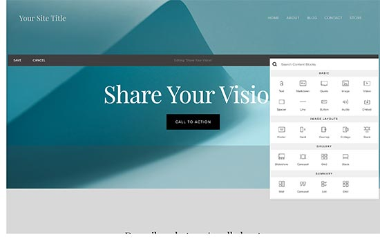 Squarespace page editor