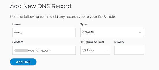 Adding CNAME record